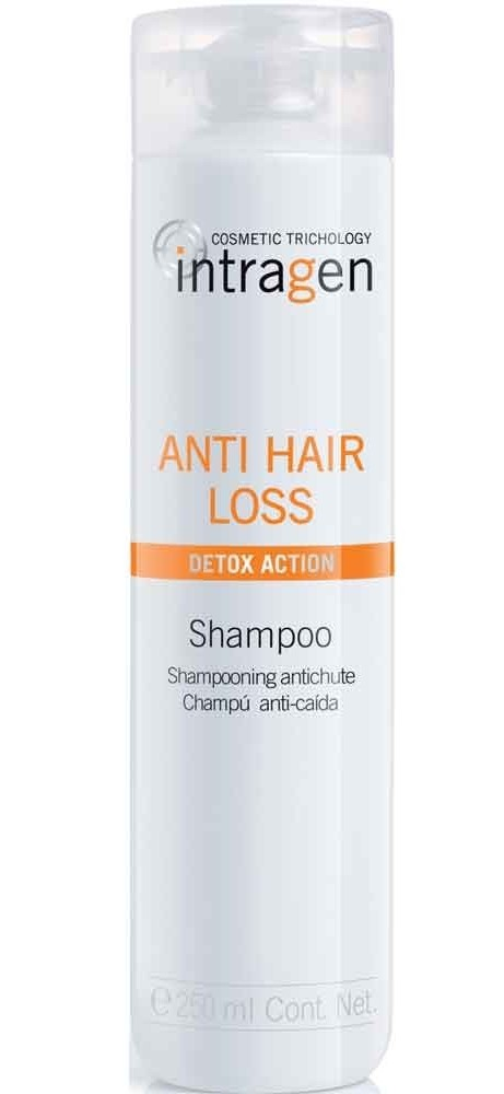 REVLON Шампунь против выпадения волос / ANTI-HAIR LOOS INTRAGEN 250млШампуни<br>Шампунь для волос склонных к выпадению, облысению, для ослабленных волос. Придает мягкость и объем волосам. Используется со средством и пластырем против выпадения волос для лучшего результата. Не вызывает аллергической реакции. Снижает риск выпадения волос, стимулирует микроциркуляцию крови кожи головы, придает силу волосяным волокнам. Обеспечивает защиту волос до самой глубины - эффективное лечение и косметический эффект. Кератин укрепляет структуру волос, делая их более эластичными и прочными. Гиалуроновая кислота увлажняет волосяное волокно, волосы становятся более густыми и объемными. В результате применения системы шампунь + концентрат + пластырь Intragen Cosmetics Trichology Anti Hair Loss Detox Action уже после 2-х месяцев применения отмечено уменьшение выпадения волос на 40%, и появление до 3000 новых волосков*. *Результат научного эксперимента при участии мужчин и женщин: 30 человек тестировали продукцию системы Intragen Cosmetics Trichology Anti Hair Loss Detox Action шампунь + концентрат. Активные ингредиенты: кератин, гиалуроновая кислота. Способ применения: круговыми движениями нанести на влажные волосы, вспенить. Тщательно смыть и промокнуть волосы полотенцем. При попадании в глаза немедленно промыть их водой.<br><br>Пол: Женский<br>Класс косметики: Косметическая<br>Типы волос: Ослабленные<br>Назначение: Выпадение
