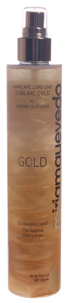 MIRIAM QUEVEDO Спрей-лосьон для ультра блеска Золотой / SUBLIME GOLD 250млЛосьоны<br>Неповторимый спрей-лосьон, содержащий золотые частицы, подарит волосам ошеломляющий блеск и сияние. Используется на последнем этапе укладки и сделает Ваш имидж неповторимым. Способ применения: Перед использованием взболтайте флакон для оптимального эффекта золотых частиц. Распылить на уложенные волосы.<br>