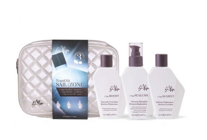 Купить L'ALGA Набор Термозащита волос с сывороткой (шампунь 100 мл, кондиционер 100 мл, сыворотка 100 мл, косметичка) Sailzone Beauty Bag