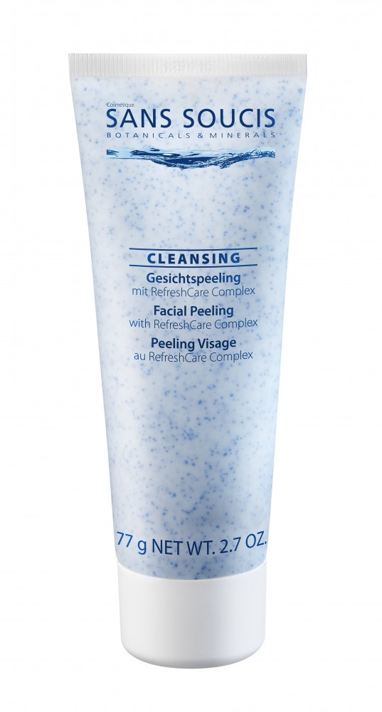SANS SOUCIS Скраб для лица деликатный / Cleansing Peeling 75млСкрабы<br>Нежный скраб позволит провести более тщательное очищение кожи. Улучшает цвет лица, выравнивает тон лица. Одновременно очищает, питает и увлажняет кожу. Рекомендовано: для всех типов кожи. Результат: очищение, увлажнение, питание и ровный тон кожи. Активные ингредиенты: термальная вода, RefreshCare Complex (экстракт василька, пантенол), масло семян лимнантеса, жожоба гранулы, бамбука экстракт. Способ применения: 1-2 раза в неделю нанесите на предварительно очищенную кожу лица, шеи и декольте. Выполните легкий массаж по нанесенному препарату, затем тщательно смойте водой<br><br>Объем: 75 мл<br>Вид средства для лица: Нежный