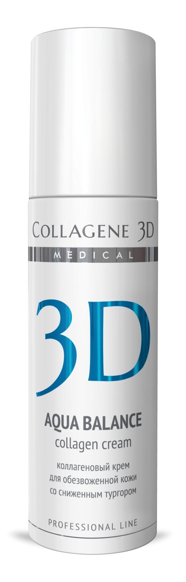 MEDICAL COLLAGENE 3D Крем с коллагеном и гиалуроновой кислотой для лица Aqua Balance 150мл проф.Кремы<br>Легкая нежирная текстура крема быстро впитывается, служит прекрасной основой под макияж. Нативный коллаген и гиалуроновая кислота способствуют омоложению и разглаживанию морщин изнутри, натуральные масла оливы и персика питают, увлажняют, обеспечивают естественную защиту, пантенол способствует заживлению и обновлению кожи, витамины А и Е   мощные липофильные антиоксиданты. Активные ингредиенты: нативный трехспиральный коллаген, гиалуроновая кислота, масло оливы, персиковое масло, пантенол, витамин А, витамин Е. Способ применения: нанести тонким слоем на предварительно очищенную кожу лица, шеи и область декольте. Кремы рекомендуются как для экспресс-процедур, так и для курсового применения. Курсовое применение: 8-10 процедур. Проводить по 1 процедуре ежедневно или через день. Поддерживающие процедуры следует проводить 1 раз в неделю.<br><br>Вид средства для лица: Легкий<br>Типы кожи: Сухая и обезвоженная<br>Назначение: Морщины<br>Консистенция: Нежирная