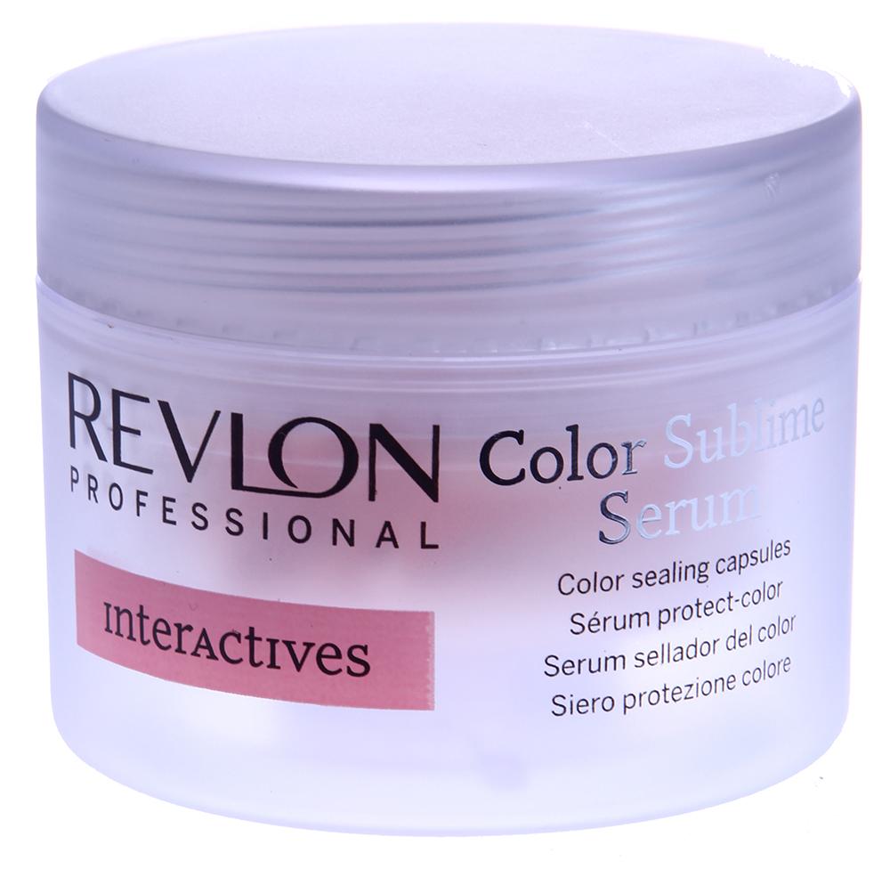 REVLON Сыворотка для закрепления цвета окрашенных волос / INTERACTIVES COLOR SUBLIME 18*1мл~Ампулы<br>Сыворотка для закрепления цвета окрашенных волос Color Sublime Serum содержит активные ингредиенты, замедляющие увядание жизненной активности волосяных луковиц. Интенсивно разглаживающие компоненты тщательно полируют каждый волос, делая его текстуру невероятно блестящей и гладкой. Внутреннее увлажнение придает мягкость и делает окрашенные, обесцвеченные и мелированные волосы послушными. Цвет сохраняется на долгое время. Теперь вы можете не только наслаждаться полнотой цветового оттенка окрашенных волос, но и надёжно защищать свои локоны от преждевременного старения.  Способ применения: Нанесите на сухие волосы одну ампулу сыворотки. В течение 5-6 минут проведите мягкий массаж кожи головы на всей поверхности. Смывать не нужно.<br>