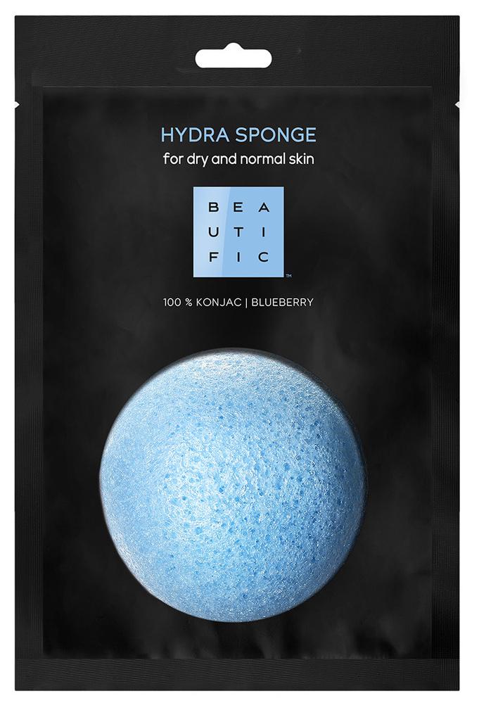 BEAUTIFIC Спонж конняку органический с экстрактом голубики для нормальной и сухой кожи / HYDRA SPONGE 1 шт