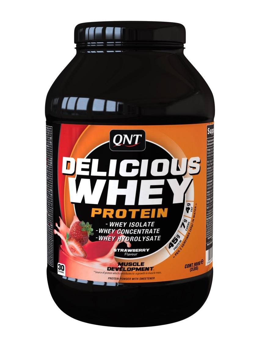 Купить QNT Добавка биологически активная к пище Делишес вей протеин, клубника / Delicious Whey Protein Powder Strawberry 908 г