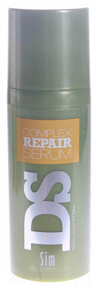 SIM SENSITIVE Сыворотка для восстановления волос Рипеир Комплекс / Complex Repair Serum DS 50млСыворотки<br>Сыворотка &amp;laquo;Рипеир&amp;raquo; входит в состав  Рипеир  комплекса DS by Sim Sensitive. Основной задачей сыворотки является восстановление и увлажнение волос. Благодаря входящему в состав сыворотки органическому маслу арганы в большой концентрации, она действует мгновенно, сохраняя волосы ухоженными, шелковистыми и блестящими, а прическу легкой и естественной максимально долго (до следующего мытья волос). Сыворотка не содержит парабены и ароматизаторы. Активные ингредиенты: Масло Арганы и гидролизированный белок пшеницы. Способ применения: Нанесите 1-2 капли сыворотки на сухие или влажные волосы. Не смывайте.<br><br>Класс косметики: Натуральная<br>Типы волос: Сухие