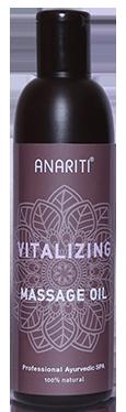 ANARITI Масло массажное тонизирующее / Vitalizing massage oil 250млМасла<br>Натуральное кунжутное масло первого холодного отжима в прекрасной комбинации с экзотическими экстрактами имбиря, перца и уникального индийского растения ашваганда насыщает кожу витаминами и обеспечивает быстрый и заметный оздоравливающий эффект. Ашваганда или индийский жень-шень   широко используемое в аюрведической практике растение   известно своими укрепляющими и омолаживающими свойствами. Название её происходит от двух санскритских слов  ашва    конь и  ганда    трава, поскольку наделяет человека поистине  лошадиной  жизненной силой и сексуальной энергией. Тонизирующее массажное масло ANARITI придает жизненную силу и ощущение свежести, увеличивает циркуляцию и выработку эндогенного эндорфина, так называемого  гормона счастья . Активные ингредиенты. кокосовое масло, масло Подсолнуха, Кунжутное масло, масло Ашваганды, Имбирное масло, Перечное масло, масло семян Тыквы, масло Мяты перечной. Способ применения: нанести небольшое количество масла на предварительно очищенную сухую кожу тела, равномерно распределить по всей поверхности. Выполнить массаж (самомассаж) в соответствии с выбранной методикой. Масло не требует смывания. При необходимости излишки масла можно промокнуть салфеткой или бумажным полотенцем. Масло также может использоваться в качестве ежедневного средства ухода за кожей тела.<br><br>Объем: 250 мл<br>Вид средства для тела: Массажный