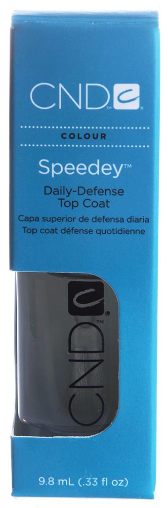 CND Покрытие тонкое быстросохнущее / Speedey 9,8млСушки<br>Быстросохнущее верхнее покрытие, создающее тонкую защитную пленку на ногте. Препарат также является ультрафиолетовым протектором и предотвращает выгорание лака. Помогает сэкономить время при выполнении дизайна, быстро высушивая верхний слой покрытия. Рекомендуется для профессионального и домашнего использования.<br>