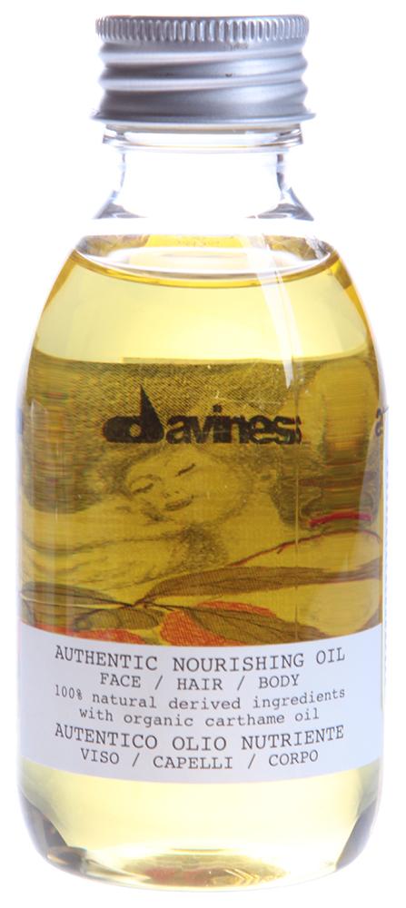 DAVINES SPA Масло питательное для лица, волос и тела / AUTHENTIC FORMULAS 140млМасла<br>Питательное увлажняющее масло Аутентик для антиоксидантного ухода за кожей лица и тела, а также для глубокого увлажнения обезвоженных волос. Содержит 100% ингредиентов органического происхождения в т.ч., - масло сафлора красильного (Carthamus tinctorius), являющегося мощным антиоксидантом и несущим защитную функцию. Обогащен натуральными маслами жожоба, подсолнечника и кунжута. Имеет приятный запах эфирных масел.  Способ применения:  Для лица: нанести несколько капель масла на кожу лица и шеи для питающего и антиоксидантного ухода.  Для волос: распределить на кончиках волос или, при желании, по всей длине для глубокого увлажнения сухих волос.  Для тела: нанести на влажную или сухую кожу, по вашему желанию, для глубокого питания и борьбы с первыми признаками старения кожи.<br><br>Объем: 140<br>Вид средства для тела: Антиоксидантный<br>Типы волос: Нормальные<br>Назначение: Старение<br>Назначение: Обезвоживание