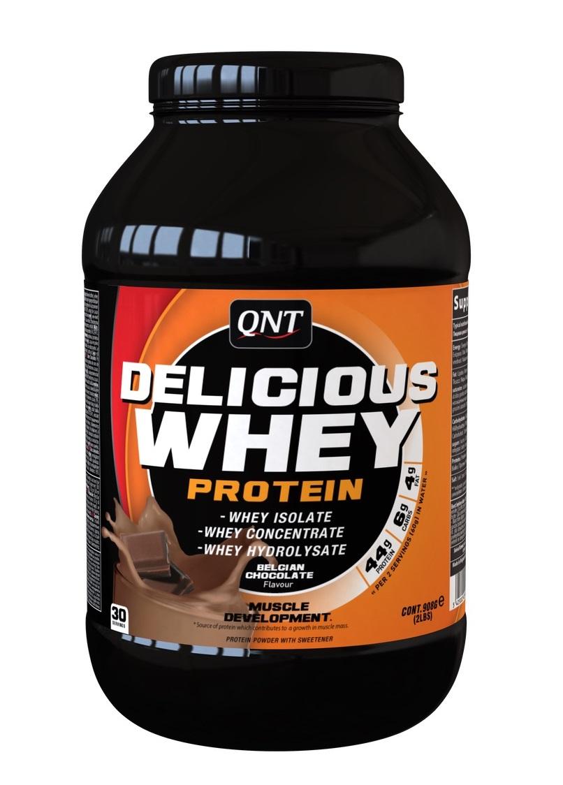 Купить QNT Добавка биологически активная к пище Делишес вей протеин, бельгийский шоколад / Delicious Whey Protein Powder Belgian Chocolate 908 г