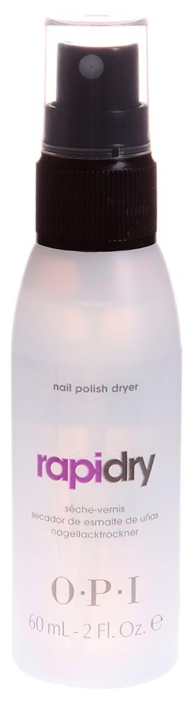 OPI Жидкость для быстрого высыхания лака / RapiDry Spray Nail Polish Dryer 60млСушки<br>.Препарат эффективно покрывает ногтевую пластину, образуя на ней надежное покрытие, не сушит кутикулу. Rapidry Spray Nail Polish Dryer формирует ровную, гладкую и блестящую поверхность на ваших ногтях, способствует сохранению прочности ногтевой пластины, хорошо закрепляет ее. Не раздражает кожу рук. Активные ингредиенты: Основа, масло &amp;laquo;Авоплекс&amp;raquo;, восстанавливающая формула, силикон. Способ применения: Применение показано между процедурами маникюра и педикюра. Можно использовать как в салонах, так и самостоятельно, в домашних условиях. Используется для закрепления лака. Наносится с расстояния 18-20 см на подготовленную, очищенную поверхность натуральных ногтей.<br>