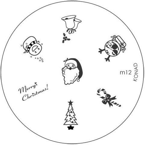 KONAD Форма печатная (диск с рисунками) / image plate M12 10грСтемпинг<br>Диск для стемпинга Конад М12 с новогодней тематикой. Ёлка, колокольчики, снеговик и конфета. Несколько видов изображений, с помощью которых вы сможете создать великолепные рисунки на ногтях, которые очень сложно создать вручную. Активные ингредиенты: сталь. Способ применения: нанесите специальный лак&amp;nbsp;на рисунок, снимите излишки скрайпером, перенесите рисунок сначала на штампик, а затем на ноготь и Ваш дизайн готов! Не переставайте удивлять себя и близких красотой и оригинальностью своего маникюра!<br>