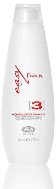 LISAP MILANO Крем-молочко увлажняющее для восстановления волос / EASY BUILD to 3 200млМолочко<br>Третий шаг линейки для биоламинирования волос от Lisap. Используется сразу после выполнения процедуры восстановления. Интенсивно увлажняет и кондиционирует волосы. Оздоровляет и возвращает упругость структуре волос. Содержащиеся в комплексе морских водорослей активные начала (биополимеры, минеральные соли, витамины, микроэлементы), действуют синергично, обеспечивая волосам увлажнение, силу, прочность. Укрепляет без утяжеления, обеспечивает мягкость волос от корней до кончиков. Жидкий крем немедленно проникает в волосы и восстанавливает жизнеспособность и эластичность структуры, укрепляет, обеспечивает мягкость, придает объем и долговременный блеск. Активные ингредиенты: экстракты бурых и красных морских водорослей, аминокислоты пшеницы, керамиды А2, витамин Е. Способ применения: нанести увлажняющую микроэмульсию Easy Build to [3] на волосы и равномерно распределить её с помощью расчёски по всей длине. Помассировать волосы. Оставить средство на несколько минут. Смыть большим количеством воды. Слегка подсушить полотенцем.<br><br>Вид средства для волос: Увлажняющий<br>Назначение: Секущиеся кончики