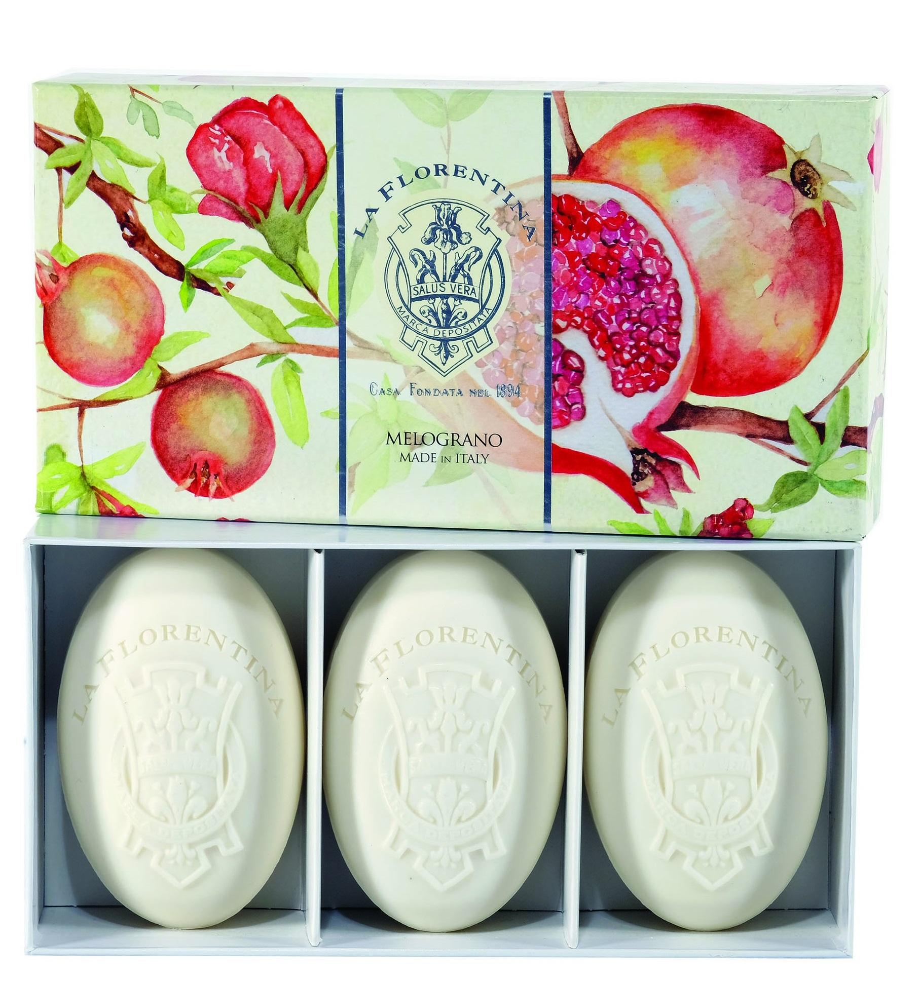 Купить LA FLORENTINA Набор натурального мыла, гранат / Pomegranate 3 х 150 г