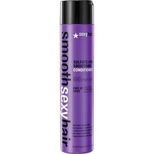 SEXY HAIR Кондиционер разглаживающий без сульфатов / SMOOTH 300млКондиционеры<br>Преобразуют пушащиеся, волнистые и кудрявые волосы в гладкие мягкие блестящие. Разглаживает кутикулу, придавая максимальный блеск. Не содержит сульфатов, клейковины, парабенов и солей. Обеспечивает гладкость, мягкость, блеск и баланс влаги. Сохраняет стойкость кератинового и химического выпрямления, работает на наращённых волосах. Кокосовое масло помогает бороться с пушистостью и достигать максимально гладких результатов на продолжительное время. Укрепляет и защищает волосы от повреждений и ломкости. Активные ингредиенты: кокосовое масло.<br><br>Вид средства для волос: Разглаживающий