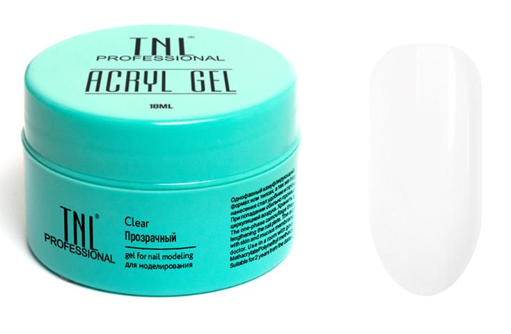 TNL PROFESSIONAL Акрил-гель для моделирования ногтей, прозрачный / Acryl Gel 18 мл - Наращивание
