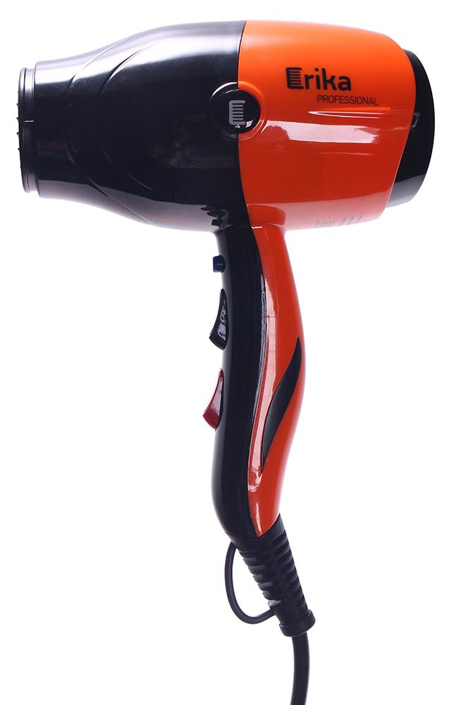 ERIKA Фен черный/оранжевый глянцевый 2200ВтФены<br>3 температурных режима 2 режима скорости Кнопка мгновенного охлаждения Фронтальное расположение кнопок Длина шнура - 3 метра Насадка в комплекте Глянцевое покрытие Мощность: 2200 Вт Скорость воздушного потока 17 м/с Цвет: черный с оранжевым<br>