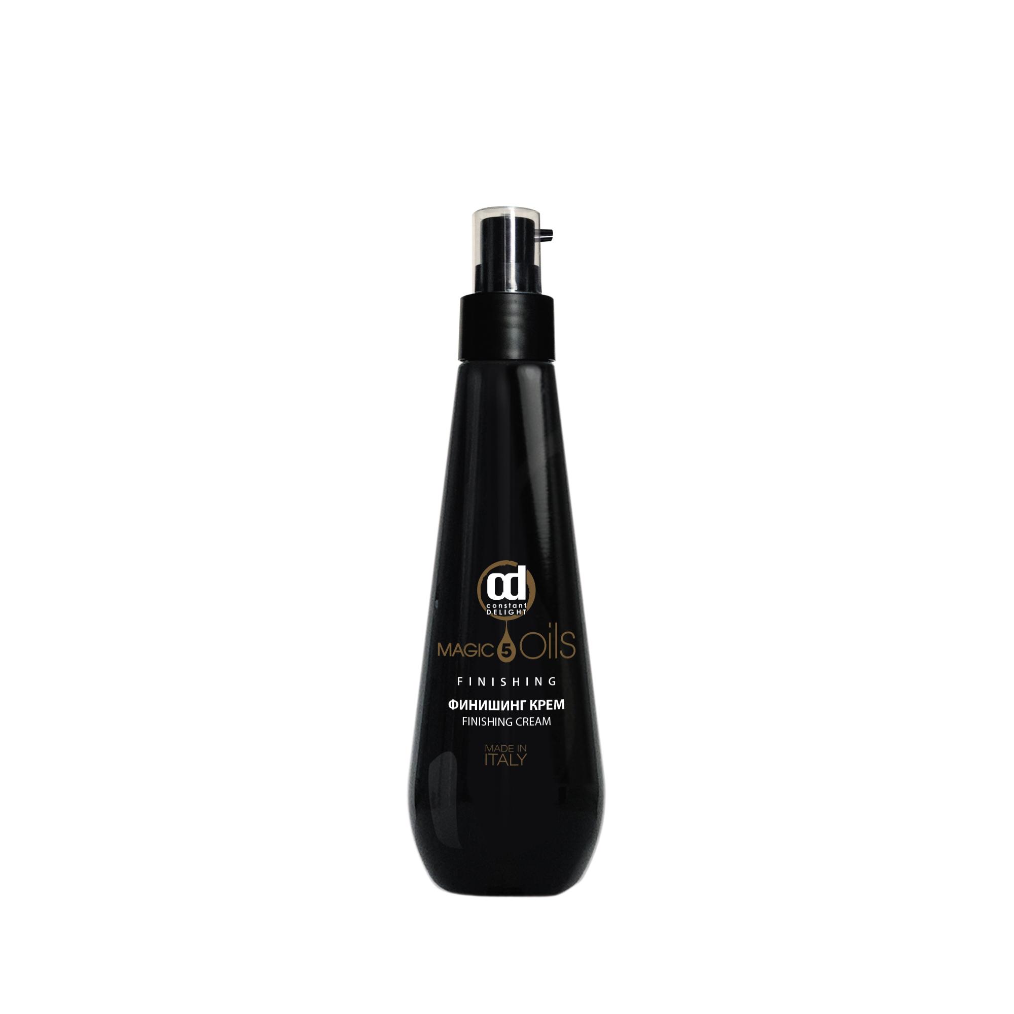 CONSTANT DELIGHT Крем финишинг / 5 Magic Oil 200 млКремы<br>Отличное средство для придания волосам насыщенного блеска. Формула крема, состоящая из  5 Магических Масел : Макадамии, Хлопка, Жожоба, Авокадо, Арганы, осуществляет комплексную защиту, питает волосы и возвращает им жизненную силу, энергию и сияние. Помогает распутать и подчеркнуть кудрявые, непослушные волосы, окутывая их тонким приятным ароматом. Активные ингредиенты: масла Макадами, Хлопка, Жожоба, Авокадо и Арганы. Способ применения: - нанести на чистые, влажные волосы. - равномерно распределить по всей длине волос. Не смывать.<br><br>Вид средства для волос: Несмываемый<br>Типы волос: Для всех типов
