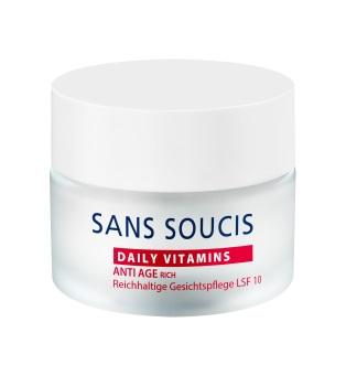 SANS SOUCIS Крем антивозрастной питательный для сухой кожи / ANTI AGE Rich Day Care SPF 10 50млКремы<br>Насыщенный крем для лица с SPF 10 с содержанием термальной воды, масла косточек граната, гиалуроновой кислоты, витаминов А и Е. Рекомендуется для сухой, зрелой кожи. Результат: питание, защита от уф- лучей. Активные ингредиенты: масло абрикосовых косточек, глицин сои, масло манго, масло косточек граната, масло подсолнечника, ретинол пальмитат, натрия гиалуронат Способ применения: ежедневно утром на очищенную кожу лица.<br><br>Объем: 50 мл