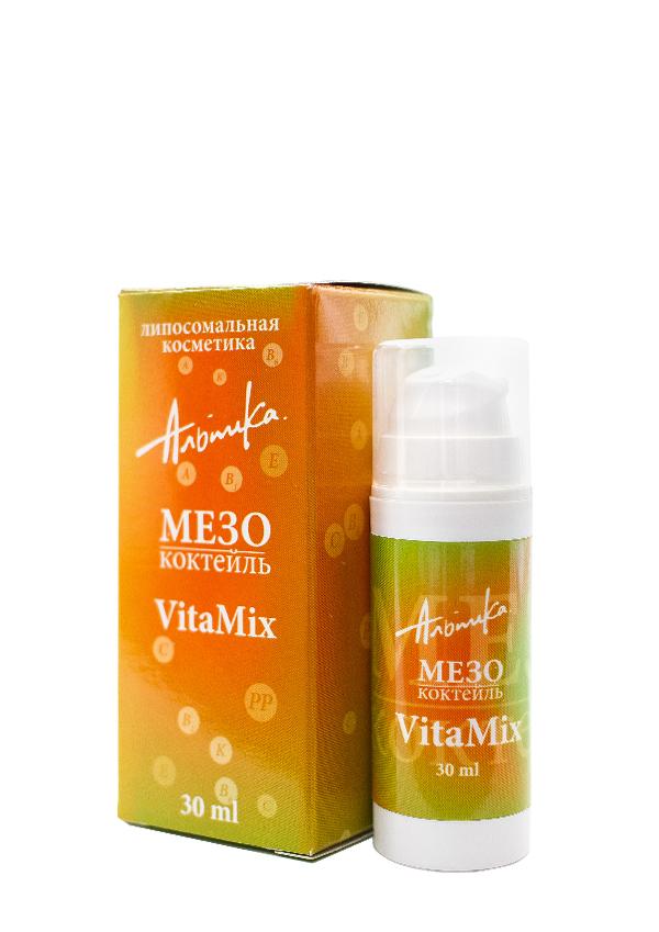 АЛЬПИКА Мезококтейль Vita Mix 30млОсобые средства<br>Мезококтель разработан для восстановления жизненной силы кожи. Рекомендуется как мягкая альтернатива косметическим инъекциям. Гиалуроновая кислота увлажняет и улучшает эластичность кожи. Соевые пептиды усиливают микроциркуляцию и лимфодренаж. Эфирные масла лайма, грейпфрута, омелы стимулируют регенерацию истощенных клеток и разглаживают морщины. Витамины А, Е, С улучшают цвет лица и предотвращают преждевременное старение кожи. Экстракты алоэ вера и ромашки способствуют уменьшению воспалительного процесса. Активные ингредиенты: альпосомы, содержащие экстракты грейпфрута, лимона, апельсина, ромашки, алоэ вера; витамины А, Е, С; гиалуроновая кислота; пальмитотетрапептид 3; соевые пептиды; эфирные масла лайма, грейпфрута, омелы. Способ применения: утром/вечером нанести мезококтейль на предварительно очищенную кожу лица, шеи и декольте. Для усиления эффекта рекомендуется использовать с кремом  Vitamix .<br><br>Тип: Мезококтейль<br>Объем: 30 мл<br>Назначение: Морщины