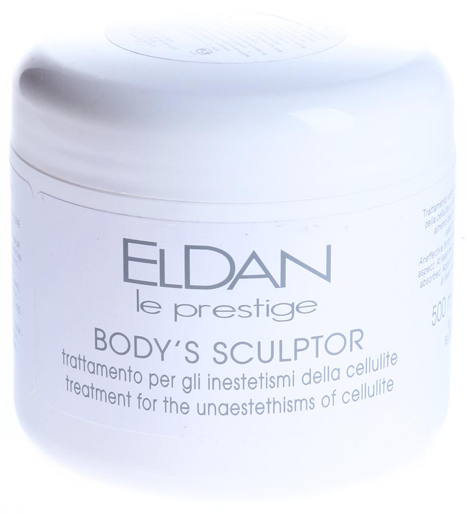 ELDAN Крем антицеллюлитный Body s Sculptor / LE PRESTIGE 500млКремы<br>Тип кожи: чувствительная, для всех типов кожи Действие: Предназначен для борьбы с целлюлитом и укрепления стенок кровеносных сосудов. Стимулирует и ускоряет липолиз жиров подкожно-жировой клетчатки, регулирует проницаемость эпидермального барьера, липидный и водный баланс кожи, активизирует процесс регенерации клеток. Дренирует кожу, способствует снятию отеков и выведению токсинов из подкожной ткани. В результате применения крема корректируются контуры тела, достигается стойкий лифтинг-эффект, уменьшается эффект &amp;laquo;апельсиновой корки&amp;raquo;, повышается тонус и эластичность кожи, мелкая сеть сосудов визуально исчезает. Активные ингредиенты: Миндальное масло, масло ши, экстракт центеллы азиатской, экстракт семян колы, масло ростков пшеницы, кофеин. Способ применения: Наносить крем на область ухода, совершая массажные движения до полного впитывания. Используется в процедурах: Профилактика целлюлита с применением Bodys sculptor Профилактика целлюлита с применением гликолевых пилингов Уход Антистресс для ног<br><br>Вид средства для тела: Антицеллюлитный