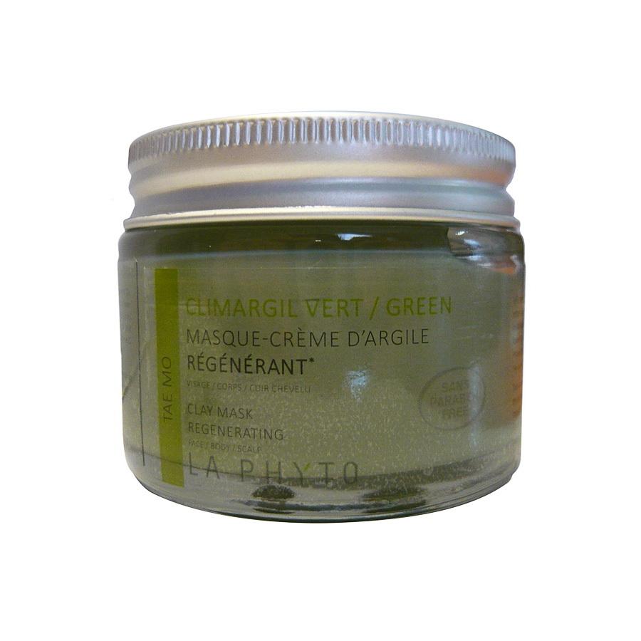 LA PHYTO Глина для лица, тела и волос Зеленая / Tae-mo Vert CLIMARGIL 50 грГлины<br>Глина для лица и тела Зеленая - стимулирует работу мышц, эмоционально расслабляющая. Способствует выведению токсинов и поддержанию водного баланса тела и лица. Освежающая и успокаивающая. Активные ингредиенты: глина и эфирные масла тимьяна, эвкалипта, лаванды, розмарина, шалфея, вербены, герани, лимона, кипариса, каепута (melaleuca quinquenervia или niaouli) и мяты. Способ применения: нанести глину на все тело и/или лицо, рефлекторные зоны, энергетические меридианы согласно протокола процедуры. Время воздействия   около 15 минут. Смыть. В домашних условиях можно использовать в качестве масок и обертываний, а также для умывания (нанести на лицо и шею мягкими круговыми движениями, смыть теплой водой).<br><br>Вид средства для волос: Стимулирующий<br>Типы кожи: Для всех типов<br>Типы волос: Для всех типов