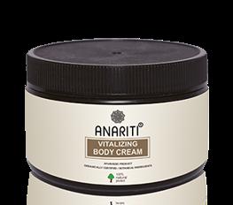 ANARITI Крем для тела тонизирующий 100млКремы<br>Тонизирующий крем предназначен для ухода за кожей тела любого типа, особенно рекомендуется для вялой, атоничной, склонной к образованию отеков кожи. Крем питает, улучшает эластичность и тургор кожи, стимулирует микроциркуляцию в кровеносных и лимфатических сосудах кожи. Экстракт амлы, благодаря высокому содержанию витамина С, укрепляет сосуды, тонизирует кожу, нормализует процесс обновления клеток эпидермиса. Экстракт манжишты выводит токсины из клеток кожи, нормализует обмен веществ. Экстракт бакопы улучшает микроциркуляцию и оказывает выраженный защитный эффект от действия неблагоприятных факторов внешней среды, в том числе от УФ излучения, моющих средств, городского смога. В результате применения крема кожа приобретает гладкость, упругость, красивый цвет и жизненную энергию. Активные ингредиенты: cоевое масло, воск Гарцинии индийской, экстракт Амлы (эмблики), масло Зародышей пшеницы, масло Сладкого миндаля, экстракт Манжишты, экстракт Бакопы Моньери, экстракт Корня солодки, масло Виноградных косточек,Вода. Способ применения: нанесите массирующими движениями  Тонизирующий крем для тела  до полного впитывания.<br><br>Объем: 100 мл<br>Вид средства для тела: Тонизирующий