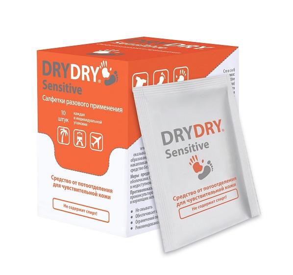 DRY DRY Салфетки разового применения для ухода за телом / Sensitive 10 шт/уп dry ru средство от обильного потоотделения с пролонгированным действием roll 50 мл