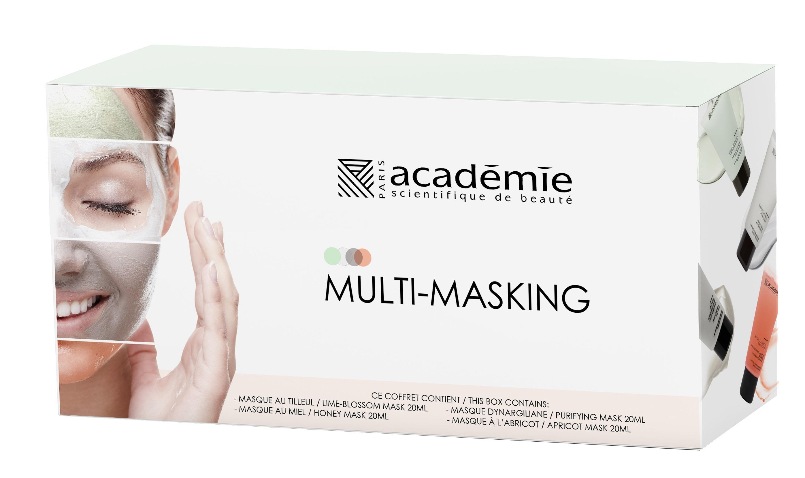 ACADEMIE Набор масок для лица Мультимаскинг (абрикосовая маска 20 мл, глиняная маска 20 мл, медовая маска 20 мл, липовая маска 20 мл) / Visage academie уход подтягивающий для лица и шеи visage 50мл