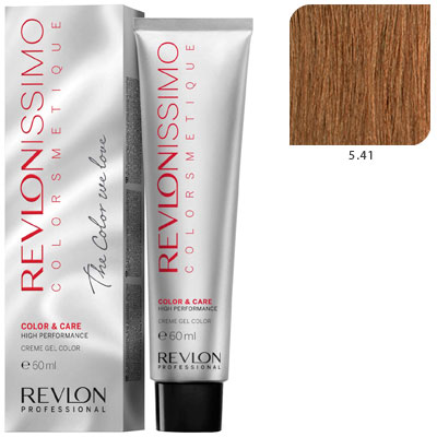 REVLON Professional 5.41 краска для волос, светло-коричневый медно-пепельный / RP REVLONISSIMO COLORSMETIQUE 60 мл revlon краситель перманентный 7 44 блондин гипер медный rp revlonissimo colorsmetique 60 мл