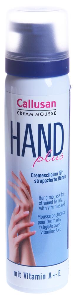 CALLUSAN Пенка для рук Каллюзан 75млПенки<br>Назначение: cтимулирует защитные функции кожи, ускоряет процесс регенерации клеток, питает, увлажняет, оживляет кожу рук, придает им ухоженный вид. Описание: Пенка для рук для нормальной кожи с витаминами А и Е Каллюзан (Callusan Hand plus Cremeschaum) для ухода за нежной кожей рук. Благодаря легкой текстуре она быстро впитывается и не оставляет ощущения скользких и жирных рук. Витамины А и Е в составе пенки активно ухаживают за кожей, питают ее и делают устойчивой к механическим нагрузкам. Витамин Е также оказывает заметное регенерирующее воздействие. Легко ароматизирована. Состав: Вода,пропан,бутан,каприлик/каприк триглицерид,цетеариловый спирт,цетеарил глигоцид,цетеарет-20,токоферола ацетат,изопропиловый спирт,ретинил палмитат,поликвотерниум-28,аминометил пропанол,феноксиэтанол,дегидроацетиловая кислота,бензойная кислота,молочная кислота,сорбитовая кислота,отдушка, пантенол, бисаболол.<br><br>Объем: 75<br>Типы кожи: Нормальная