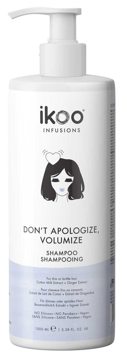 Купить IKOO Шампунь для волос Непростительный объем / Shampoo Don't Apologize, Volumize 1000 мл