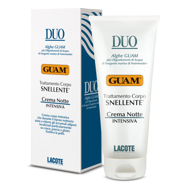 GUAM Крем интенсивный против жировых отложений ночной / DUO 200млКремы<br>Эффективно устраняет локальные жировые отложения в области живота, бёдер, ягодиц. Разработан с учётом биоритмов жировых клеток в ночное время. Интенсивно стимулирует липолиз за счёт активных компонентов, замедляет созревание жировых клеток, способствует синтезу коллагена, значительно повышая упругость кожи.&amp;nbsp; Активные ингредиенты: Экстракт красной водоросли, морская вода Нуармутье, масло грейпфрутовое.&amp;nbsp; Способ применения: Наносить перед сном массажными движениями до полного впитывания.<br><br>Объем: 200<br>Вид средства для тела: Интенсивный<br>Назначение: Целлюлит