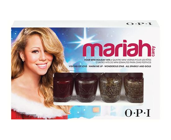 OPI Мини лаки Holiday 2013 Mariah Carey4*3,75мл~Наборы <br>Набор из четырех мини-лаков, по 3,75 мл каждый, самых популярных оттенков коллекции Holiday 2013 Mariah Carey: Лак для ногтей &amp;laquo;Visions of Love&amp;raquo; &amp;mdash; 3,75 мл.  Лак для ногтей  Warm Me Up    3,75 мл.  Лак для ногтей  Wonderous Star    3,75 мл. Лак для ногтей  All Sparkly and Gold    3,75 мл. Способ применение: Нанесите 1-2 слоя цветного лака на ногти после нанесения базового покрытия. Для придания прочности и создания блеска нанесите слой верхнего покрытия через одну минуту после нанесения последнего слоя лака.<br>