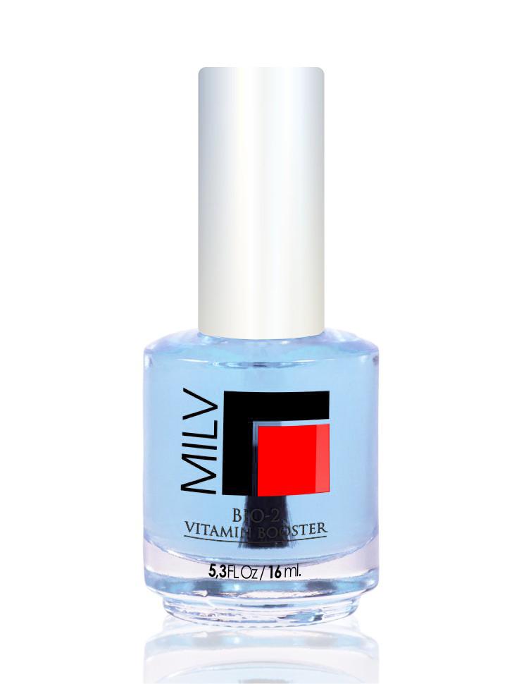 MILV Лак базовый с витаминами / Bio2 Vitamin Booster 16млОсобые средства<br>Базовый лак с витаминами. Средство 4 в 1(основа под лак, укрепитель для натуральных ногтей, прозрачный лак, защитное покрытие для искусственных ногтей) Прозрачная текстура с голубоватым оттенком, который не заметен на ногтях, но при этом визуально отбеливает ногтевую пластину. Продлевает срок ношения декоративного лака. Преимущества продукта: - Средство образует покрытие, которое не препятствует проникновению воздуха в ногтевую пластину, что является наиболее естественным для физиологии ногтей - Запатентованный пластисайзер природного происхождения препятствует проникновению воды в ногтевую пластину. - Укрепляет кератин, предохраняют ногти от расслоения, ломкости. -&amp;nbsp;Содержит стволовые клетки растений для активации роста здоровых, сильных ногтей, стойких к расслоению и ломкости. - Коктейль натуральных антиоксидантов (витамины С и Е)замедляют старение клеток, улучшают состояние ногтей. - Аргановое масло, витамин А, В5 помогают восстановить оптимальный уровень увлажненности и питательных веществ в ногтевой пластине, активизируют формирование кератина. - Продлевает ношение декоративного лака. - Предотвращает ногти от пожелтения (пигментации) после использования цветного лака для ногтей - Легко наносится, быстро сохнет, образует твердое и блестящее покрытие. Способ применения: 1. В качестве основы под лак: нанесите 1 слой под декоративный лак. 2. В качестве самостоятельного покрытия и придания блеска натуральным ногтям нанести 2 слоя. 3. В качестве защитного покрытия искусственных ногтей нанесите 1-2 слоя. 4. Для лечения ногтей наносите по 2 слоя, покрытие необходимо менять примерно 1 раз в 4 дня. Эффект достигается после 4 недель использования<br>