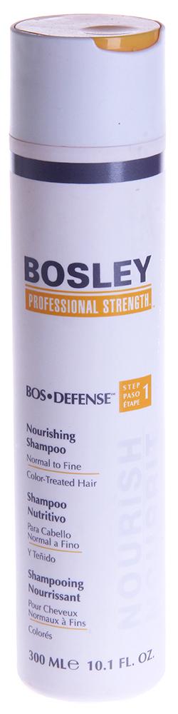 BOSLEY Шампунь питательный для нормальных/тонких окрашенных волос / ВОS DEFENSE (step 1) 300млШампуни<br>Нежный, не содержащий сульфаты питательный шампунь, который помогает создать здоровую среду для волос и кожи головы. Действие: Очищает и выводит токсины, такие как ДГТ (основной причиной истончения и выпадения волос) с волос и кожи головы. Специальные ингредиенты продлевают срок яркости и насыщенности цвета окрашенных волос. Активные ингредиенты: LifeXtend&amp;trade; Комплекс. Color Keeper&amp;trade;. Способ применения: Применять ежедневно. Нанести на влажные волосы, вспенить мягкими массирующими движениями, оставить на одну минуту и смыть.<br><br>Вид средства для волос: Питательный<br>Назначение: Выпадение