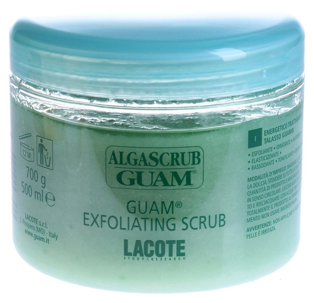 GUAM Скраб увлажняющий для тела / ALGASCRUB 700грСкрабы<br>Неповторимый продукт, в состав которого входят исключительно натуральные компоненты: экстракты водорослей, морские соли, эфирные и растительные масла. Действие: Прекрасно эксфолиирует ороговевшие клетки с поверхности кожи, стимулируя клеточную регенерацию, улучшает текстуру и цвет кожи. Природный пилинг, обогащенный ценными маслами и морскими композициями, питает, полирует, минерализует и обновляет кожу. Активные ингредиенты: Экстракт водорослей GUAM, морские соли, подсолнечное масло, масло жожоба, масло зародышей пшеницы, масло энотеры, миндальное масло, масло перечной мяты, лимонное масло, розмариновое масло. Способ применения: Нанесите скраб на влажную кожу по всему телу и вотрите его легкими массирующими круговыми движениями, оставьте на несколько минут, затем смойте теплой водой, не используя мыло или гель для душа.<br><br>Объем: 700<br>Вид средства для тела: Увлажняющий