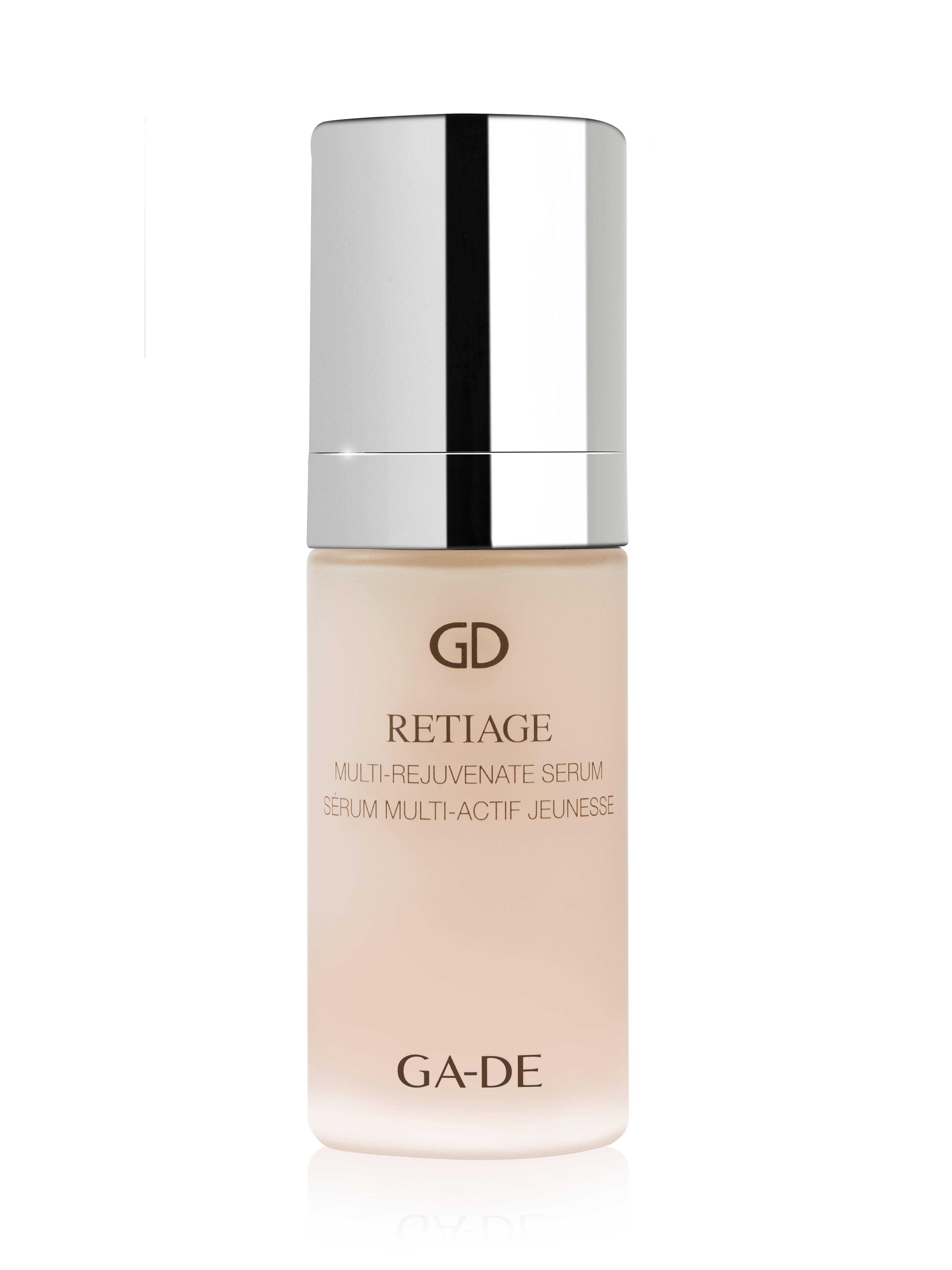 GA-DE Сыворотка для лица / RETIAGE MULTI-REJUVENATE 30млСыворотки<br>Концентрированная сыворотка заключает в формуле эффективную комбинацию: активные растительные клетки, ретинол, гиалуроновую кислоту, витамин Е и восстанавливающие ингредиенты, которые помогают бороться с целым рядом внешних признаков старения кожи, ускоряют действие крема RETIAGE, помогают сохранить молодость кожи. Состав: AQUA (WATER), GLYCERIN, DIPENTAERYTHRITYL HEXACAPRYLATE/HEXACAPRATE, COCO-CAPRYLATE/CAPRATE, DIPROPYLENE GLYCOL, OLUS OIL (VEGETABLE OIL), GLYCERYL STEARATE, PEG-100 STEARATE, PEG-8, GALACTOARABINAN, PENTAERYTHRITYL TETRAETHYLHEXANOATE, SQUALANE, DICAPRYLYL ETHER, COCOS NUCIFERA (COCONUT) OIL, PHENOXYETHANOL, BEHENYL ALCOHOL, GLYCERYL STEARATE SE, CARBOMER, ETHYLHEXYLGLYCERIN, CHLORPHENESIN, PARFUM (FRAGRANCE), SODIUM HYDROXIDE, TOCOPHERYL ACETATE, DISODIUM EDTA, CHONDRUS CRISPUS POWDER (CARRAGEENAN), SODIUM HYALURONATE, PROPYLENE GLYCOL, HYDROXYPROPYL CYCLODEXTRIN, CAPRYLIC/CAPRIC TRIGLYCERIDE, PSILANTHUS BENGALENSIS LEAF CELL CULTURE EXTRACT, TOCOPHEROL, RETINOL, OPUNTIA FICUS-INDICA STEM EXTRACT, ASCORBYL PALMITATE, BORAGO OFFICINALIS SEED OIL, CYCNOCHES COOPERI (ORCHID) EXTRACT, ASCORBIC ACID, CITRIC ACID, LECITHIN, OPUNTIA FICUS-INDICA LEAF CELL EXTRACT, RETINYL PALMITATE, RUBUS IDAEUS LEAF CELL CULTURE, ASCORBYL TETRAISOPALMITATE, LIMONENE, LINALOOL. Способ применения: наносить утром и/или вечером на тщательно очищенную кожу лица и шеи.<br><br>Пол: Женский<br>Класс косметики: Домашняя<br>Типы кожи: Для всех типов<br>Время применения: Ежедневный