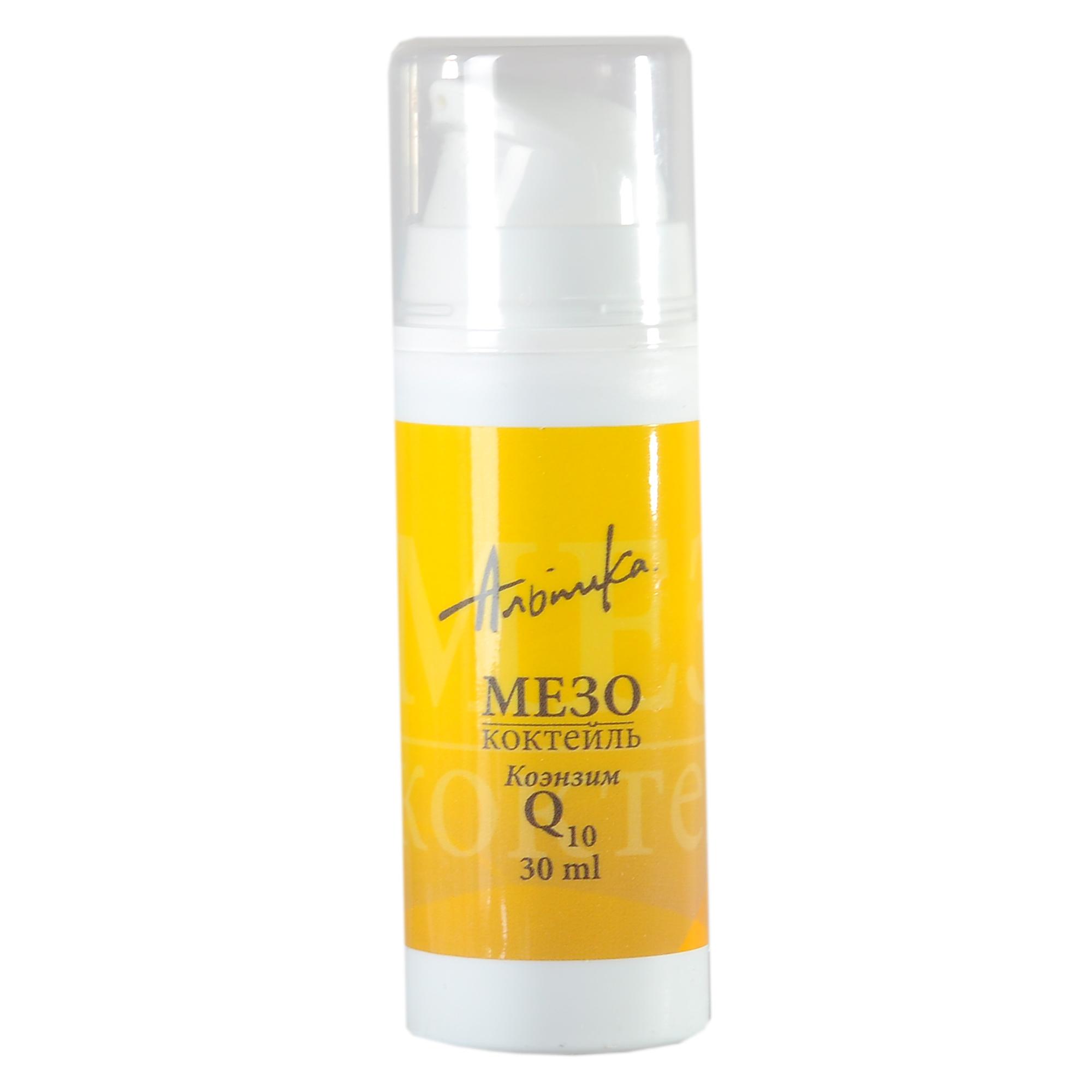 АЛЬПИКА Мезококтейль коэнзим Q10 30млОсобые средства<br>Мощный коктейль, содержащий Коэнзим Q10, который стимулирует снабжение клеток энергией, усиливает действие витамина А по восстановлению эластиновых волокон кожи. В сочетании с гиалуроновой кислотой способствует быстрому омоложению. Активные ингредиенты: альпосомы, содержащие экстракты алоэ барбадосского, корня женьшеня, гиалуронат натрия, коэнзим Q10, аскорбилфосфат магния, витамин Е, эфирные масла мирры, можжевельника, грейпфрута, лиметта. Способ применения: утром/вечером нанести мезококтейль на предварительно очищенную кожу лица, шеи и декольте. Рекомендуется использовать с кремом Коэнзим Q10.<br><br>Тип: Мезококтейль<br>Объем: 30 мл