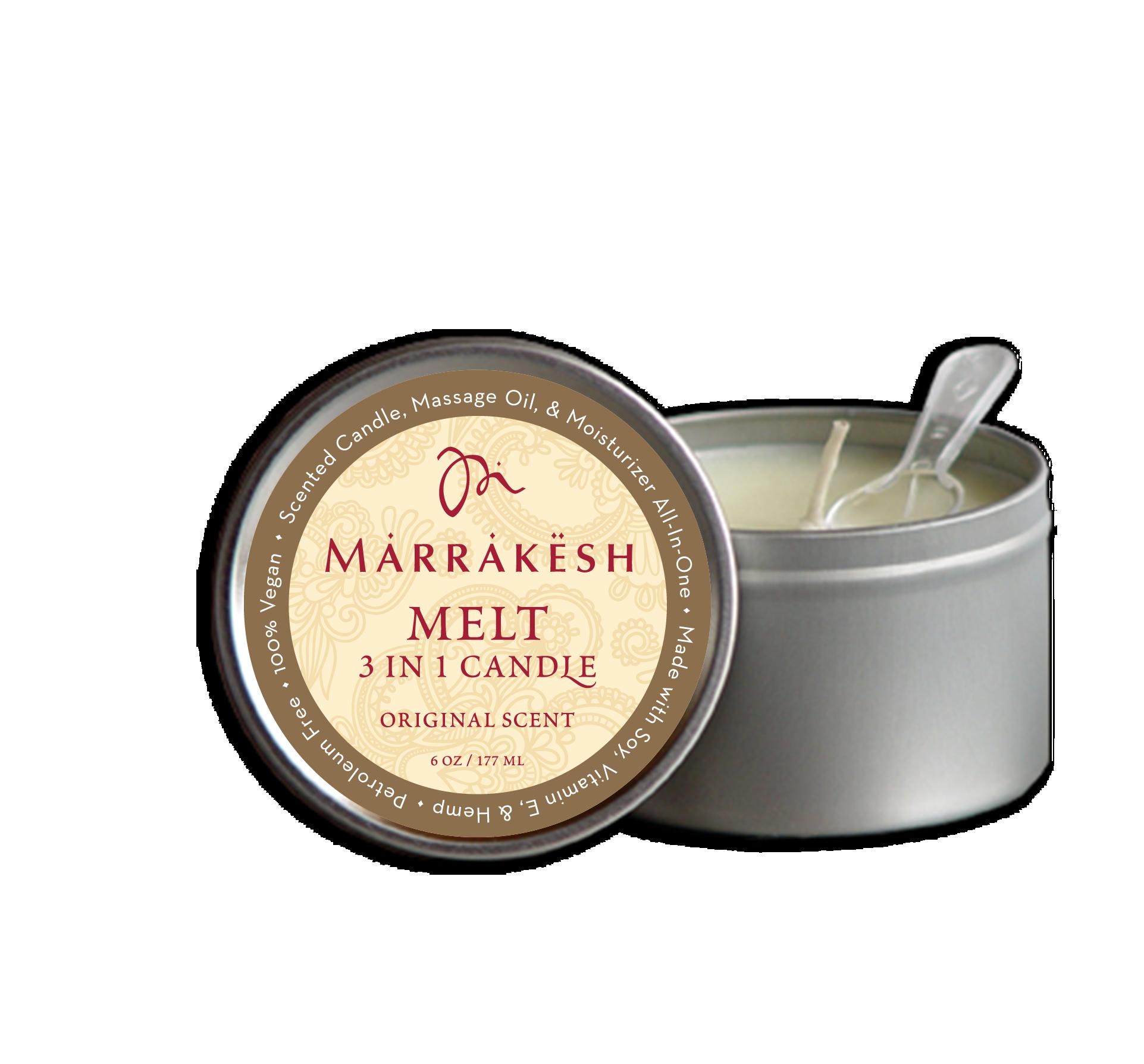 MARRAKESH Свеча 3 в 1 для тела (аромат Original) / Marrakesh 3 IN 1 Candle MELT ORIGINAL 180 млСвечи<br>Бестселлер от Marrakesh   1. Тающая свеча на основе сои и комплекса натуральных масел может использоваться, как арома свеча, массажное масло и увлажняющее средство. Наполняет помещение чувственным ароматом. Масло конопли придает коже мягкость и увлажняет, не оставляя жирного блеска. Основа   соевое масло   обеспечивает длительное использование свечи. Она плавится намного медленнее, чем парафин. Температура расплавленного масла всего на несколько градусов отличается от температуры тела, поэтому его можно сразу наносить на кожу. Способ применения: свечу расплавить до теплой (не горячей!) температуры , использовать, как увлажняющее массажное масло, можно использовать как арома-свечу, или вместо вашего ежедневного увлажняющего крема!<br><br>Объем: 180 мл<br>Вид средства для тела: Массажный