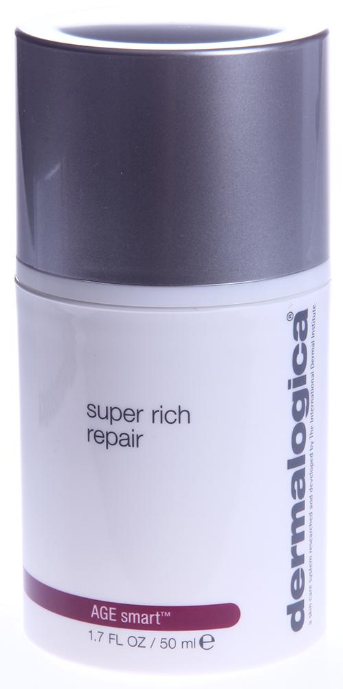 DERMALOGICA Восстановитель суперпитательный / Super Rich Repair AGE SMART 50млКремы<br>Супер питательный восстановитель Super Rich Repair останавливает преждевременное старение кожи и ликвидирует уже имеющиеся признаки. Полипептид аргинин   это белок, который действует в качестве  ловушки  для сахара, предупреждая тем самым образование ригидного коллагена с поперечными сшивками. Масла вечерней примулы, огуречника, ши, кокоса и ацетат токоферола (Витамин Е) уменьшают трансэпидермальную потерю влаги, защищают кожу от потенциальных раздражающих веществ из окружающей среды. Мадекассосид угнетает медиаторы воспаления, оказывает противовоспалительное действие. Пальмитоил трипептид-5 стимулирует синтез коллагена, усиливает упругость кожи и компенсирует действие металлопротеиназ. Генестеин   активный Изофлавоноид Сои, который борется со свободными радикалами, а также стимулирует продукцию коллагена и гиалуроновой кислоты. Коллоидный овес, Оксид Цинка и Avena Sativa (Овес) успокаивают, обеспечивают противозудное действие для хронически сухой кожи.&amp;nbsp; Активные ингредиенты: Масло вечерней примулы, масло огуречника, масло ши, масло кокоса, витамин Е.&amp;nbsp; Способ применения: Нанесите Super Rich Repair на все лицо и шею, уделяя особое внимание сухим зонам. Для солнечной защиты утром поверх Super Rich Repair нанесите Dynamic Skin Recovery SPF30. Для максимального результата смешайте с небольшим количеством MAP-15 Regenerator<br><br>Вид средства для лица: Питательный<br>Возраст применения: После 45
