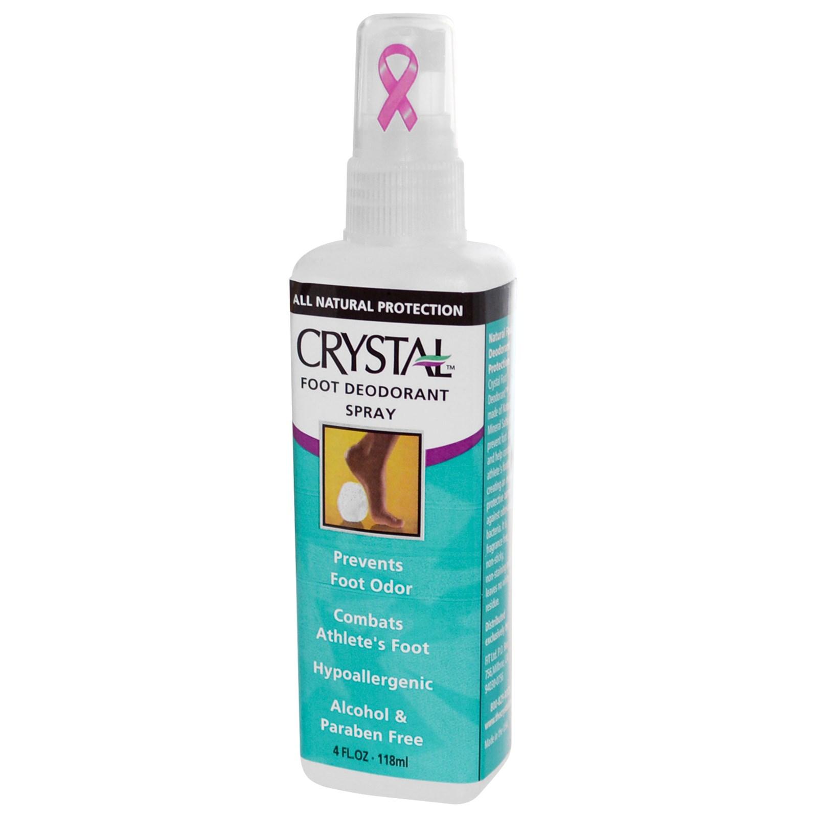 CRYSTAL Дезoдорант-спрей для ног / Crystal Sprey Foot 118млДезодоранты<br>Многие мужчины задаются вопросом, как найти среди большого количества разрекламированных дезодорантов натуральный спрей, эффективно защищающий ноги от возникновения резкого запаха? Антибактериальный спрей Crystal, созданный на основе натуральных препаратов, обеспечит безопасный и долговременный результат. Активные ингредиенты: раствор квасцов калия, обладающий антисептическим свойством, и минеральные соли. Способ применения: дезодорант для ног наносится на сухую, тщательно вымытую кожу. Для максимально эффективного использования средство рекомендуется распылить внутри обуви.<br><br>Тип: Дезодорант-спрей<br>Назначение: Запах
