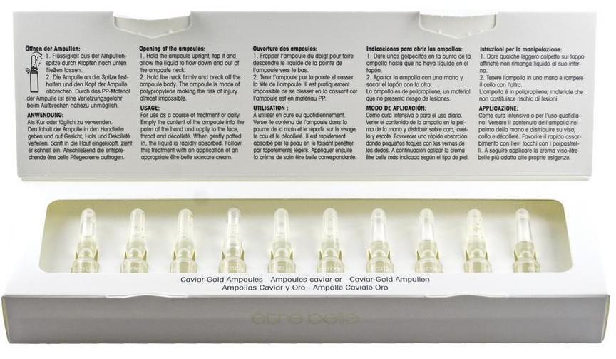 ETRE BELLE Ампулы Золото и Икра (Caviar-Gold Ampoules) 10*1.5млАмпулы<br>Эксклюзивное сочетание активных веществ, полученных из регенеративных продуктов. Икра, богатая минералами и микроэлементами, золото и мед стимулируют функции кожи. Активный ингредиент Matrixyl  стимулирует выработку коллагена и гиалуроновой кислоты. Ампулы Золото и Икра - максимальный уход для требовательной кожи. Результат. Значительно снижают концентрацию, а также глубину морщин. Кожа снова становится эластичной и гладкой.  Активные ингредиенты: Matrixyl , 24-каратное золото, икра осетровых рыб, мед.  Способ применения: Наносить утром, а также вечером на предварительно очищенную кожу, после чего нужно воспользоваться соответствующим средством для ухода.<br><br>Назначение: Морщины