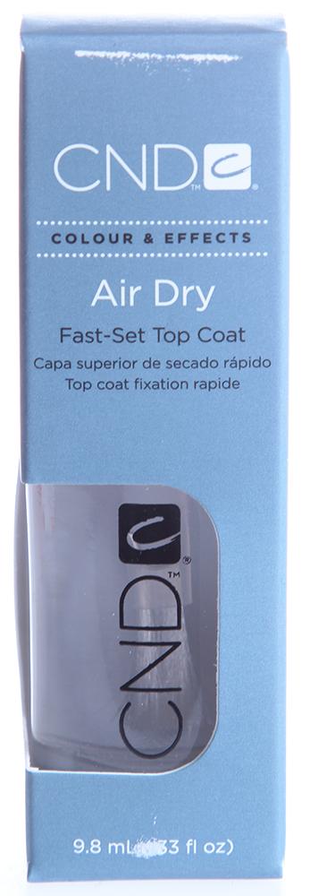 CND Покрытие верхнее с эффектом быстрой сушки лака / Air Dry 9,8млСушки<br>Верхнее покрытие с эффектом быстрой сушки лака. Сверхтвердое, блестящее и быстросохнущее пок ры тие образует немеркнущую гла зурь керамического типа, придает лаку исключительный блеск, однов ременно создавая защиту от смазывания. Рекомендовано для профессионального и домашнего использования.<br><br>Виды лака: Глянцевые<br>Типы ногтей: Нормальные
