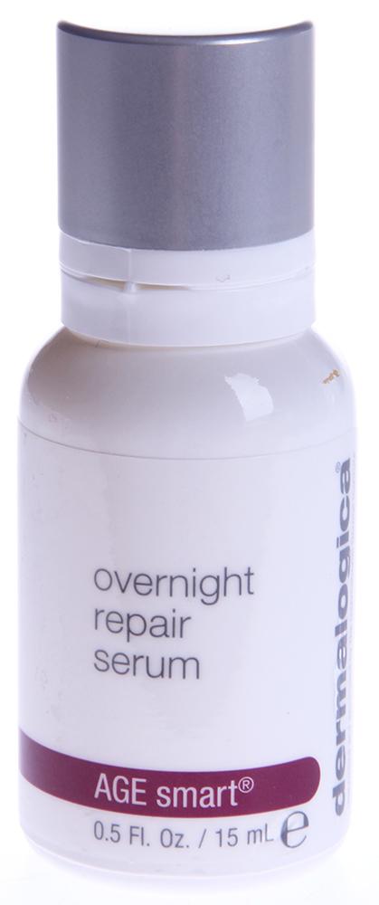 DERMALOGICA Серум восстанавливающий ночной / Overnight Repair Serum AGE SMART 15млСыворотки<br>Ночная восстанавливающая сыворотка Overnight Repair Serum стимулирует естественную выработку коллагена и гиалуроновой кислоты, восстанавливая липидный слой и стимулируя клеточное обновление. Масло арганы, семян шиповника, моркови и масло розы доставляют в кожу витамины, антиоксиданты и обеспечивают питание. Масло семян подсолнечника защищает и укрепляет липидный барьер, алария эскулента и  дизайнерский  пальмитоил трипептид   38 стимулируют выработку коллагена и гиалуроновой кислоты, тем самым разглаживая морщины и моделируя овал лица.&amp;nbsp; Активные ингредиенты: Масло арганы, масло семян подсолнечника, масло семян шиповника, масло моркови, масло лепестков розы.&amp;nbsp; Способ применения: После очищения кожи нанесите 4-6 капель на кожу как завершающий продукт или добавьте 3-4 капли в Power Rich или другой увлажнитель Dermalogica. Сыворотку можно нанести перед нанесением Power Rich или другого увлажнителя Dermalogica, примерно за 5 минут, чтобы серум впитался и не препятствовал проникновению увлажнителя.<br><br>Вид средства для лица: Восстанавливающий<br>Возраст применения: После 45<br>Назначение: Морщины<br>Время применения: Ночной