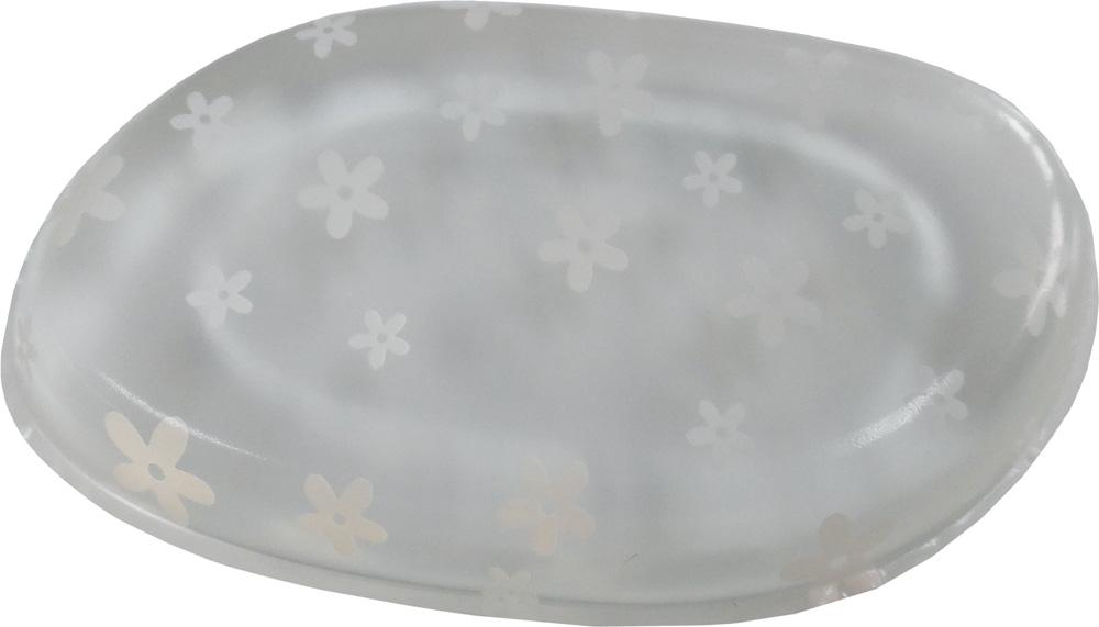 DEWAL BEAUTY Губка для нанесения макияжа, прозрачная с рисунком (белые цветы) 1 шт