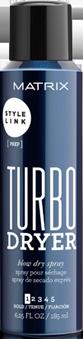 MATRIX Спрей для экспресс-укладки / STYLE LINK 185млСпреи<br>Спрей для экспресс-укладки Турбо Драйер от MATRIX упрощает и ускоряет процесс укладки феном. Уникальная формула спрея с быстросохнущими компонентами делает волосы послушными и гладкими, подготавливая их к созданию абсолютно гладкой укладки. Упрощает и ускоряет процесс укладки феном. Уникальная формула с быстросохнущими компонентами сокращает время сушки волос в 2 раза и делает волосы послушными и гладкими. Степень фиксации: 1 Финиш: натуральный Способ применения: равномерно распылить с расстояния 15-20 см на влажные волосы. Уложить как обычно.<br><br>Объем: 185 мл