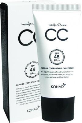 KONAD Крем СС для лица капсульный / iloje Flobu CAPSULE CC CREAM 50млКремы<br>СС-крем Konad - это мультифункциональное средство, которое в дополнение к эффекту ВВ-крема питает кожу и является лечебной базой под макияж. СС-крем также эффективно устраняет несовершенства кожи, повышает ее упругость и омолаживает. СС крем Konad Capsule Comfortable Care Cream- это крем, который имеет белую основу с капсулами тонального крема. СС крем от Конад- это крем, который Вы сможете превратить в любой оттенок от светлого до теплого с желтоватым понтоном. При нанесении на кожу он выглядит белым с темными вкраплениями. По мере растирания он становится насыщеннее и темнее, Вы сами регулируете нужный Вам уровень выраженности оттенка. СС крем Konad СС Capsule отличается своей мультифункциональностью: 1 Ухаживает за кожей и питает её. 2 Защищает от сухости и имеет высокую защиту от солнца (SPF 48) 3 Подходит в качестве базы под мейк-ап. 4 Существенно улучает цвет лица и борется с несовершенством кожи, СС крем Конад отлично справляется с покраснениями и веснушками. 5 Держится весь день, не теряя свойства. СС крем от Konad идеален для теплого времени года (весна, лето, осень), он легко наносится и ровно ложится, придает коже естественность и сияние. Какой эффект дает СС крем Конад? 1 Увлажняет и питает кожу в сочетании с маскирующим эффектом. 2 Выравнивает тон кожи, защищает от солнца. 3 Сохраняет естественный цвет и фактуру кожи, при этом скрывая все недостатки. 4 Подстраивается под тон кожи. 5 Имеет лечебный эффект, высокую защиту от солнца (SPF 48). Способ применения: наносить СС крем лучше всего на чистое лицо (если кожа не склонна к сильной сухости или жирности), если необходимо нанести уходовое средство для кожи, сделайте это заранее, за 20-30 минут, чтобы кожа впитала его и СС крем мог лечь аккуратно. Есть несколько способов нанесения СС крема Konad: с помощью пальцев, кистью, спонжем. Поверх СС крема можно нанести при необходимости пудру, но помните, что это нужно делать после 30-т