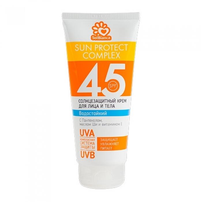 SOLBIANCA Крем солнцезащитный водостойкий для лица и тела SPF45 200мл