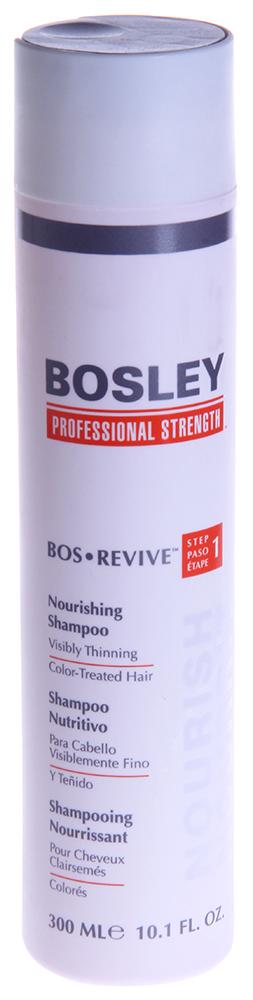 BOSLEY Шампунь питательный для истонченных окрашенных волос / ВОS REVIVE (step 1) 300млШампуни<br>Нежный, омолаживающий, не содержащий сульфаты питательный шампунь, который помогает создать здоровую среду для волос и кожи головы. Действие: Восстанавливает волосы, омолаживая кожу головы благодаря Комплексу LifeXtend&amp;trade;, позволяет продлить долговечность цвета окрашенных волос с системой ColorKeeper&amp;trade;. Активные ингредиенты: LifeXtend&amp;trade; Комплекс. Экстракт Карликовой Пальмы. Color Keeper&amp;trade;. Способ применения: Применять ежедневно. Нанести на влажные волосы, вспенить мягкими массирующими движениями, оставить на одну минуту и смыть.<br><br>Вид средства для волос: Питательный