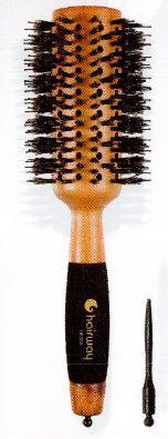 HAIRWAY Брашинг Profi деревянный, с отверстиями, натуральная щетина, черные штифты 42 мм - Брашинги